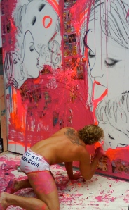 Brent Ray Fraser and artwork in action